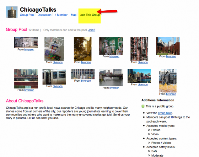flickr chicagotalks photo group page
