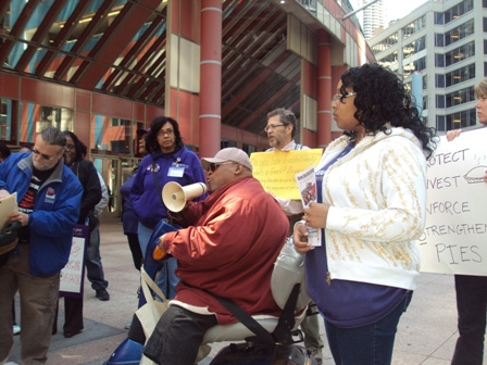 crowd gathered outside of Thompson Center in Chicago Illinois. Rally for supports for people with disabilities