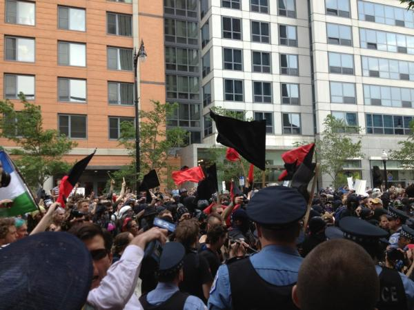 NATO Demonstrators and Police Clash at Sunday Protest