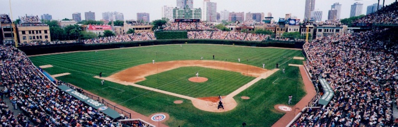 Panoramic of Chicago Cubs vs Boston RedSox. Ta...
