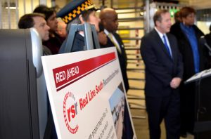 CTA President Forrest Claypool outlines changes for Red Line riders when construction begins in May. The CTA announced its plans Thursday at a press conference at the Garfield Green Line stop. (Photo by Megan Ammer)