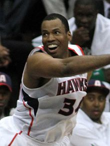 Jason Collins, the first basketball player who came out as being gay, in a May 2012 game with the Atlanta Hawks.