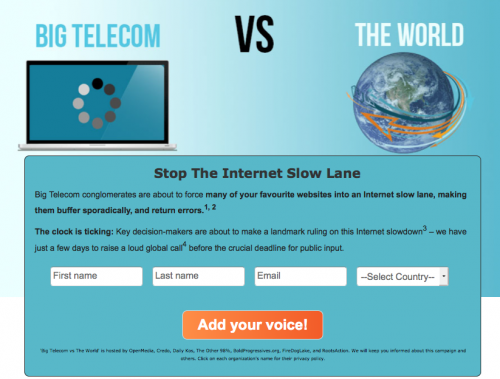 Click to Help Stop the Internet Slow Lane