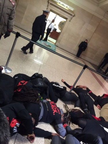Protesters flood City Hall over Ferguson decision