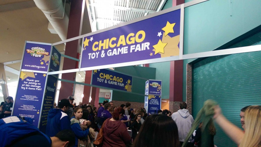 Chicago Toy and Game Fair banner on opening morning