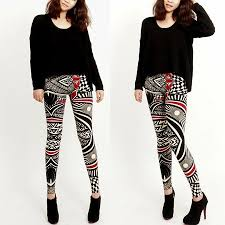 Printed leggings and plain top